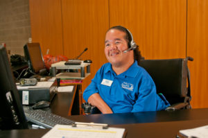 Employment: Young Woman with Disability Working as Receptionist