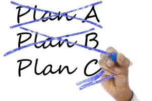 Text: Plan A, Plan B crossed out. Plan C Selected